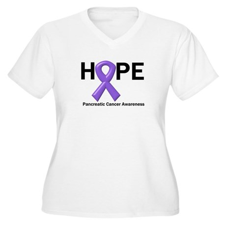 Hope-Pancreatic Cancer Women's Plus Size V-Neck T-