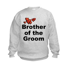 Hearts Brother of the Groom Kids Sweatshirt