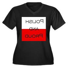 Unique Polish proud Women's Plus Size V-Neck Dark T-Shirt