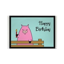 Birthday Pig Rectangle Magnet (10 pack)