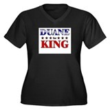 DUANE for king Women's Plus Size V-Neck Dark T-Shi