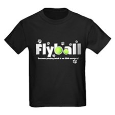 Not Fetch Flyball Kids Black T-Shirt (White Text)