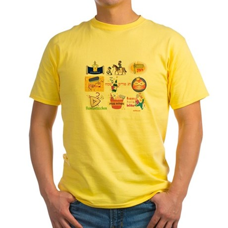 Happy Purim Collage Yellow T-Shirt