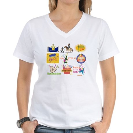 Happy Purim Collage Women's V-Neck T-Shirt