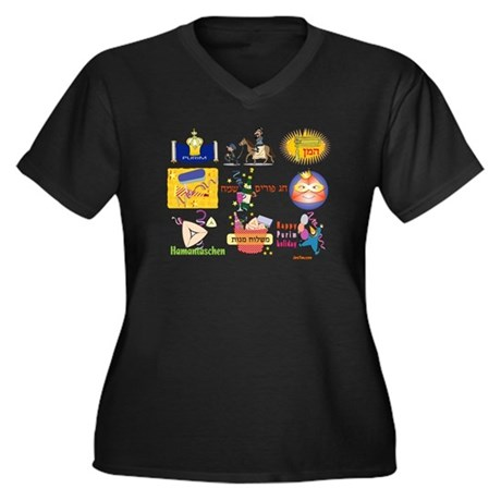 Happy Purim Collage Women's Plus Size V-Neck Dark