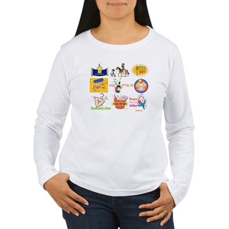 Happy Purim Collage Women's Long Sleeve T-Shirt