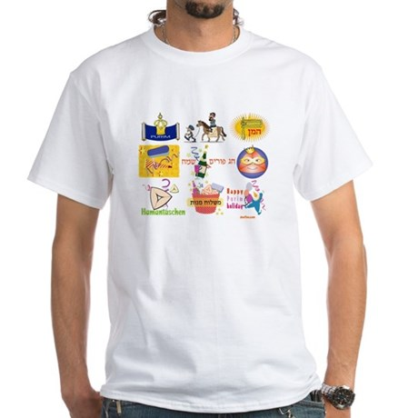 Happy Purim Collage White T-Shirt