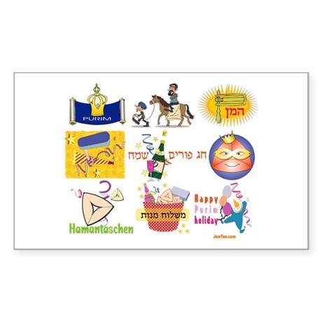 Happy Purim Collage Rectangle Sticker