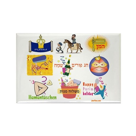 Happy Purim Collage Rectangle Magnet (100 pack)