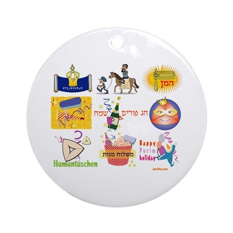 Happy Purim Collage Ornament (Round)