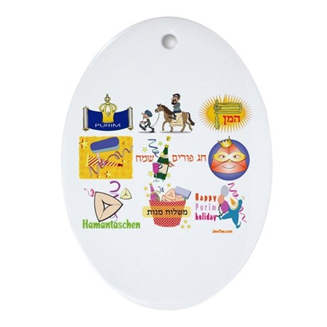 Happy Purim Collage Oval Ornament
