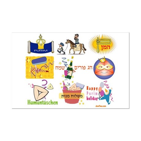 Happy Purim Collage Mini Poster Print