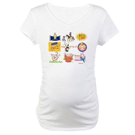 Happy Purim Collage Maternity T-Shirt