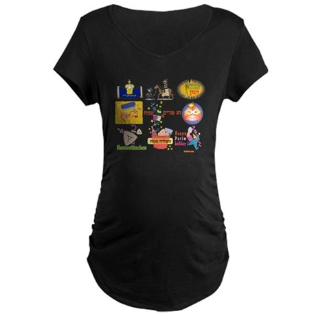 Happy Purim Collage Maternity Dark T-Shirt