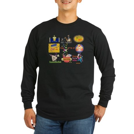 Happy Purim Collage Long Sleeve Dark T-Shirt
