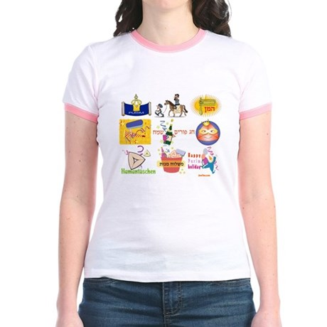 Happy Purim Collage Jr. Ringer T-Shirt