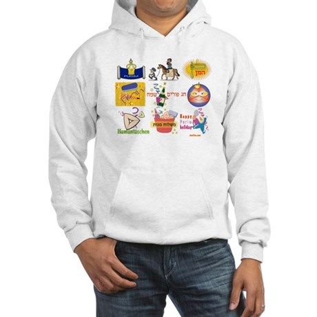 Happy Purim Collage Hooded Sweatshirt