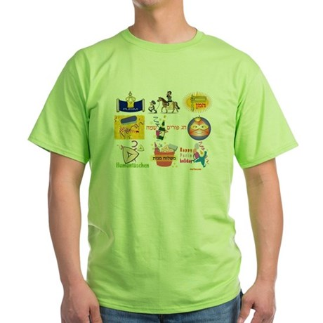 Happy Purim Collage Green T-Shirt
