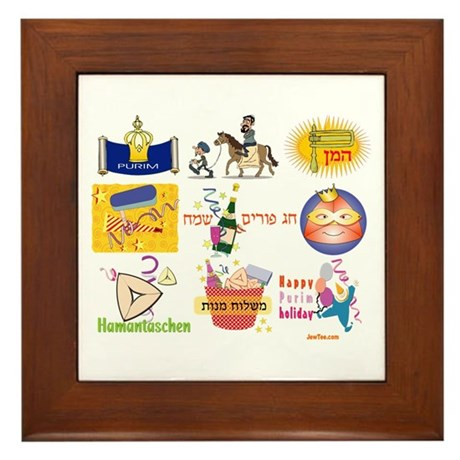 Happy Purim Collage Framed Tile