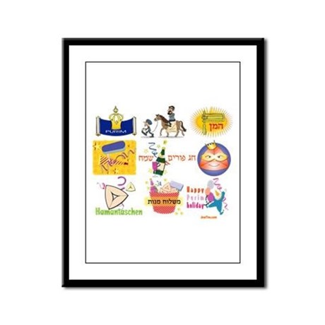 Happy Purim Collage Framed Panel Print