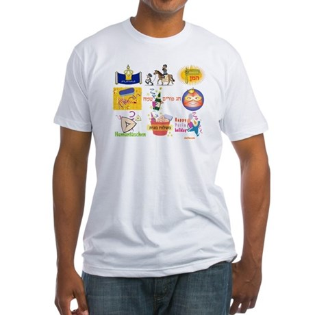 Happy Purim Collage Fitted T-Shirt