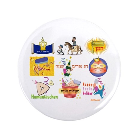 "Happy Purim Collage 3.5"" Button"