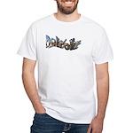 DETROIT (FANCY LETTERS OF SKYLINE White T-Shirt