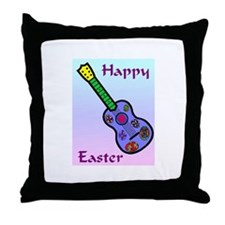 Easter Guitar Throw Pillow