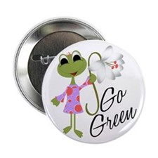 "Go Green Frog 2.25"" Button"