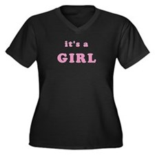 """It's a Girl"" Women's Plus Size V-Neck Dark T-Shir"