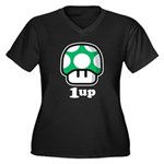 1up Mushroom Women's Plus Size V-Neck Dark T-Shirt