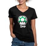 1up Mushroom Women's V-Neck Dark T-Shirt