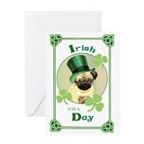 St. Patrick Pug Greeting Card