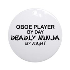 Oboe Player Deadly Ninja Ornament (Round)