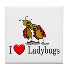 I Love Ladybugs Tile Coaster