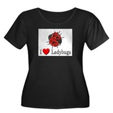 I Love Ladybugs Women's Plus Size Scoop Neck Dark