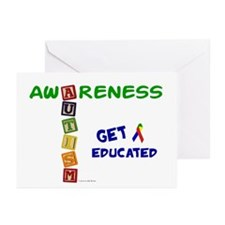 Autism Awareness Blocks 2 Greeting Cards (Pk of 10