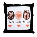 Peace Love Ballet Ballerina Throw Pillow