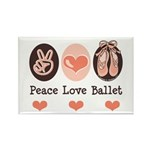 Peace Love Ballet Ballerina Rectangle Magnet