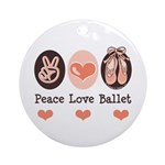 Peace Love Ballet Ballerina Ornament (Round)