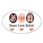 Peace Love Ballet Ballerina Oval Sticker