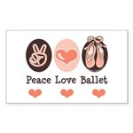 Peace Love Ballet Ballerina Rectangle Sticker