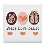 Peace Love Ballet Ballerina Tile Coaster