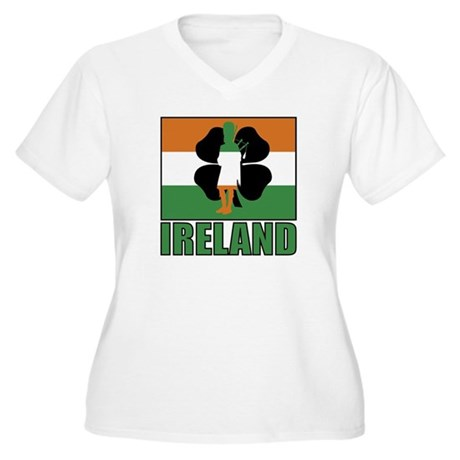 Irish Flag Women's Plus Size V-Neck T-Shirt