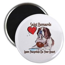 "St Bernards Leave Paw Prints On Your Heart 2.25"" M"