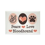 Peace Love Bloodhound Rectangle Magnet