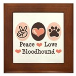 Peace Love Bloodhound Framed Tile