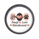 Peace Love Bloodhound Wall Clock