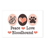 Peace Love Bloodhound Postcards (Package of 8)