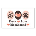 Peace Love Bloodhound Rectangle Sticker